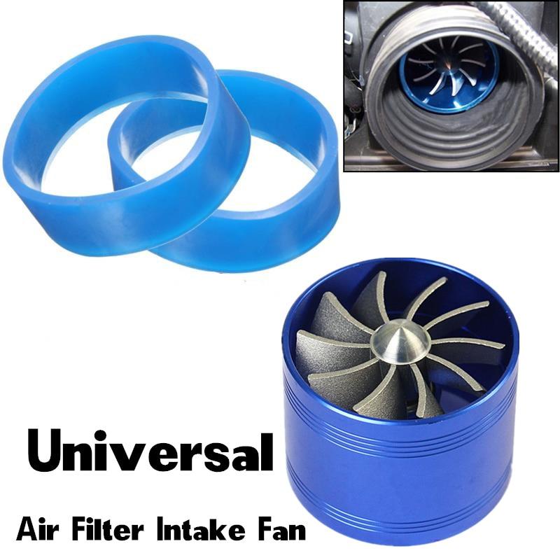 Blue Air Intake Turbonator Single Fan Engine Gas Fuel Saver Turbine Super Charge