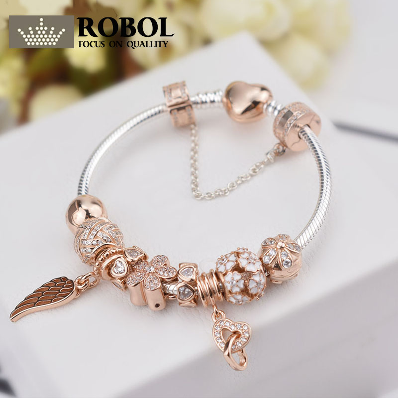 ROBOL Genuine 100% 925 Sterling Silver Bracelet For Set Women Rose golden birthday Gift charm Bead Jewelry DIY bangle stylish golden hollow rounded rectangle hasp bracelet for women