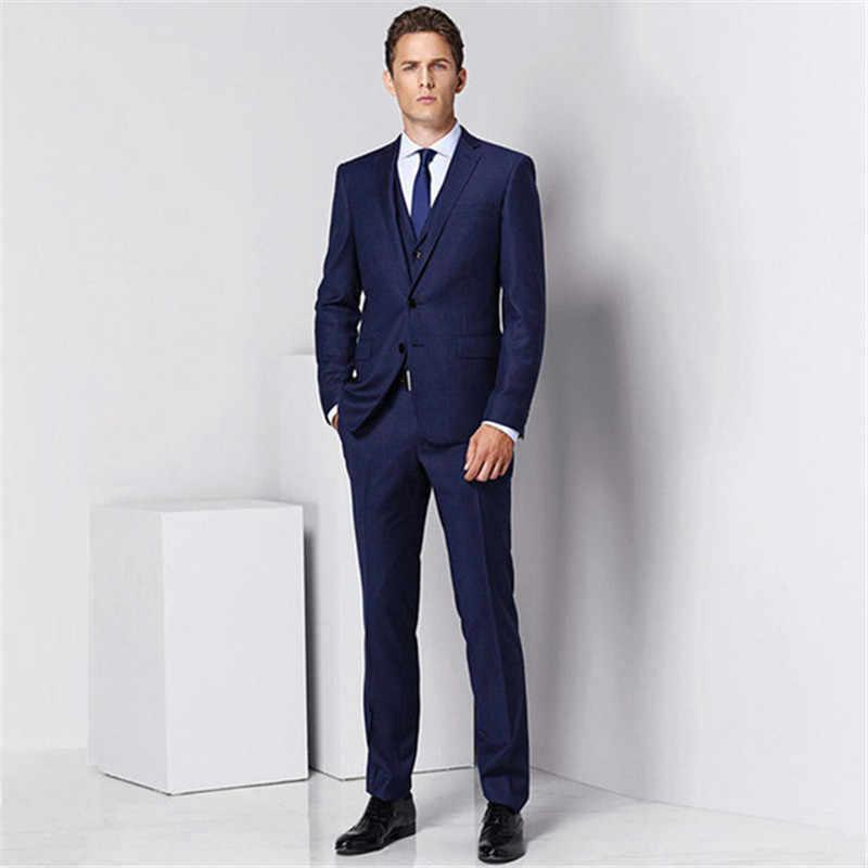 男性のファッションソリッドカラーのスーツスリーピーススーツ (ジャケット + パンツ + ベスト) 結婚式新郎付添人のドレス男性のビジネスドレス
