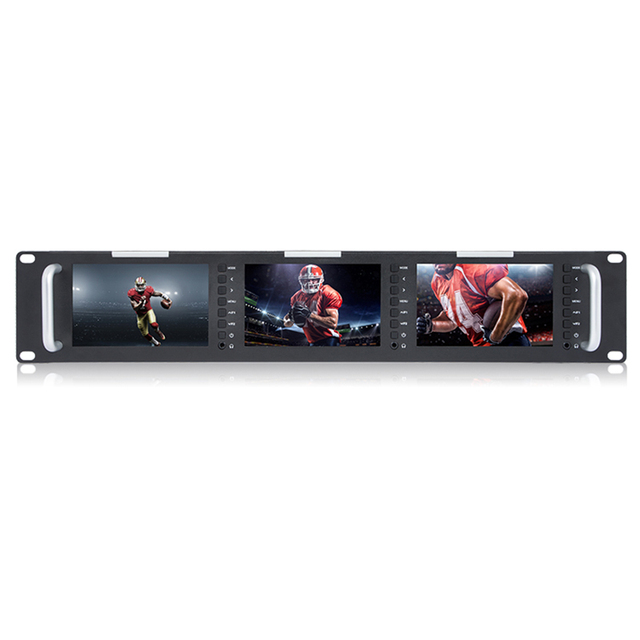 "Triple 5"" 2RU 800x480 Broadcast LCD Rack Mount Monitor with 3G-SDI HDMI AV input and output Triple Screen Industrial Monitor T51"
