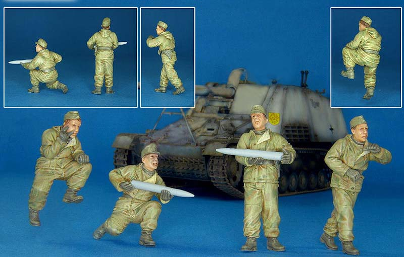 Assembly Unpainted Scale 1/35 German Nashorn Crew Eastern Front (4 figures) figure Historical WWII Resin Model Miniature Kit bronco model cb35054 1 35 wwii civilian 1937 german opel olympia car