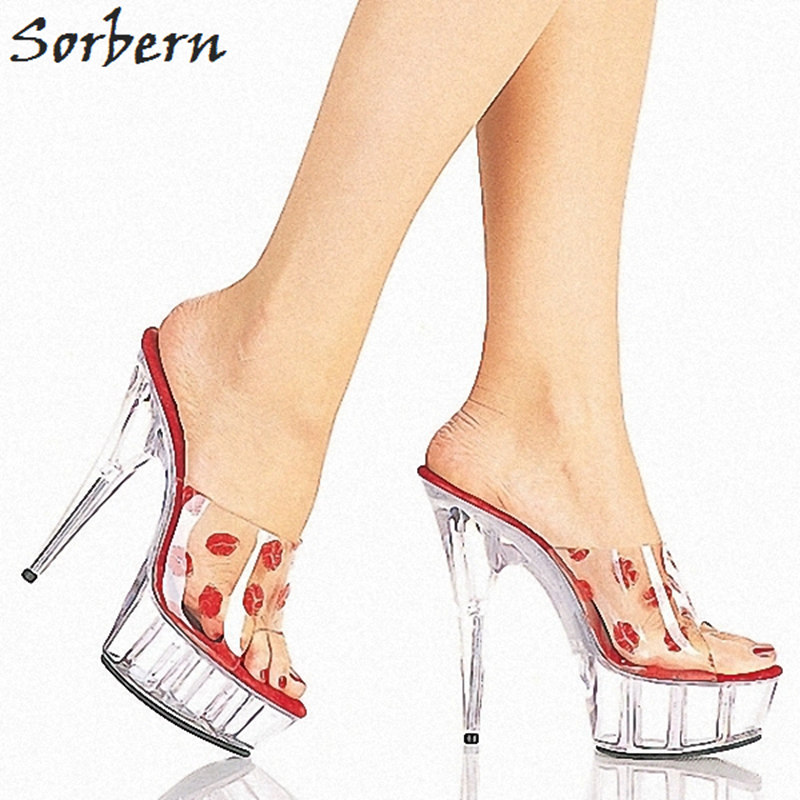 Sorbern Sexy Red Lips Pvc Women Summer Slippers Big Size Women Shoes Clear High Heels Platform Open Toe Designer Shoes 2018