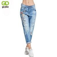 GOPLUS 2018 New Boyfriend Jeans Ripped High Waist Dense Denim Floral Embroidered Jeans For Women Plus Size C4527