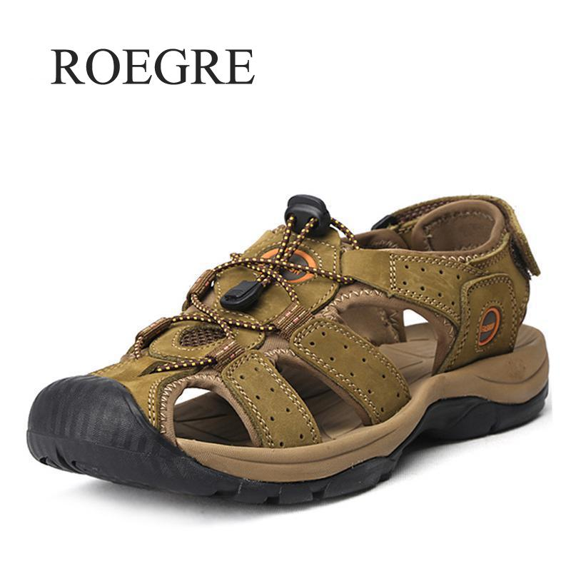 ROEGRE Brand Genuine Leather Shoes Summer New Large Size Mens Sandals Men Sandals Fashion Sandals And Slippers Big Size 38-47