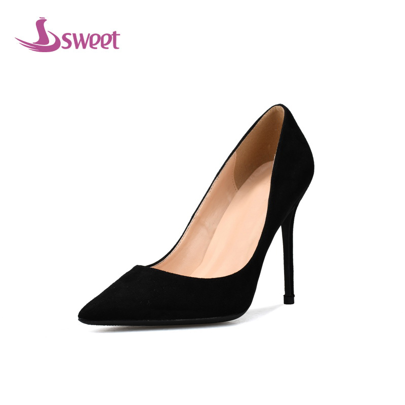 sweet Brand womens shoes woman pumps Winter Basic Flock Slip-On Pointed Toe Thin Heels Elegant Shallow Party A42 womens shoes high heel woman pumps spring autumn basic silk slip on pointed toe thin heels sexy wedding shoes ljx04 q
