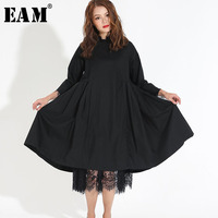 [EAM] 2018 Spring Fashion Trend New Korean Distribution Lace Hem Solid Cotton Long Sleeve Dress Woman Y13100