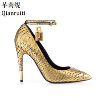 Qianruiti Gold Faux Snake Leather High Heels Ladies Shoes Metal Padlock Women Shoes Sexy Pointed Toe Buckle Strap Women Pumps
