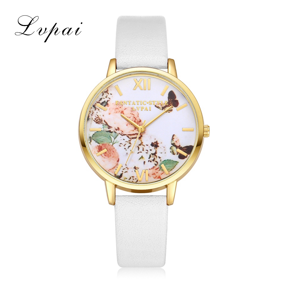 2016 New Gold Watch Dress Women Fashion Casual Butterfly Rose Dial Watches Women Luxury Brand Leather Quartz Watch Clock luxury brand new silver watch women fashion quartz wristwatches butterfly rose dial watches women dress quartz watch clock