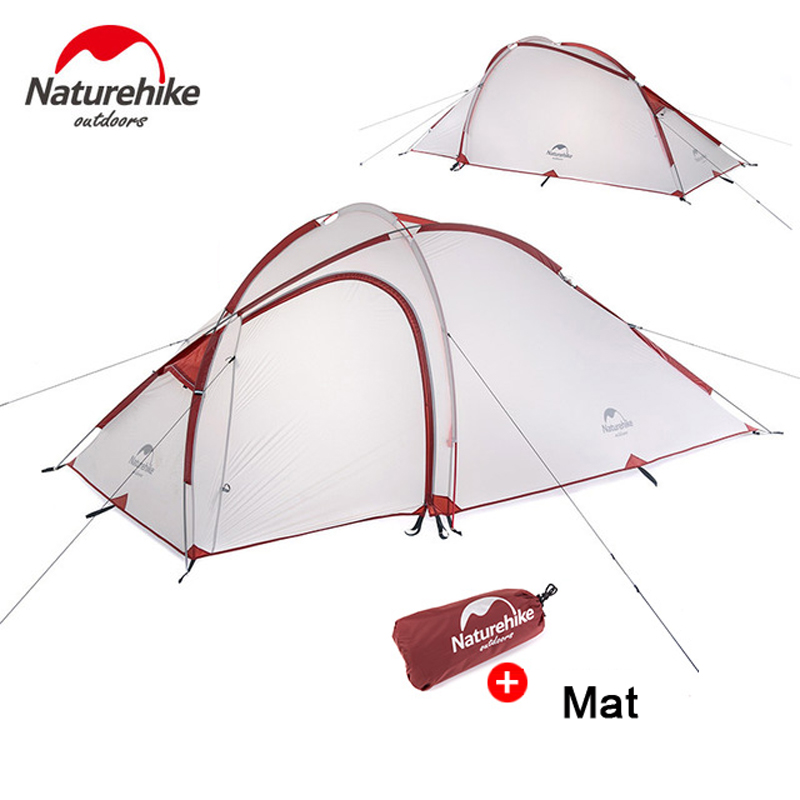 NatureHike design beach tent Family Tent Fabric Waterproof Double-Layer 2 Person 3 Season Aluminum Rod Outdoor Camping Tents naturehike 3 person camping tent 20d 210t fabric waterproof double layer one bedroom 3 season aluminum rod outdoor camp tent