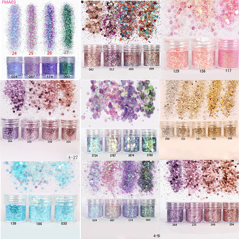 Nail Art Glitter 4boxes/Set (10ml/Box) 3D Nail Art Glitter MIX 10 Colors Nail Glitter Powder Sequins Powder For Nail Art Glitter