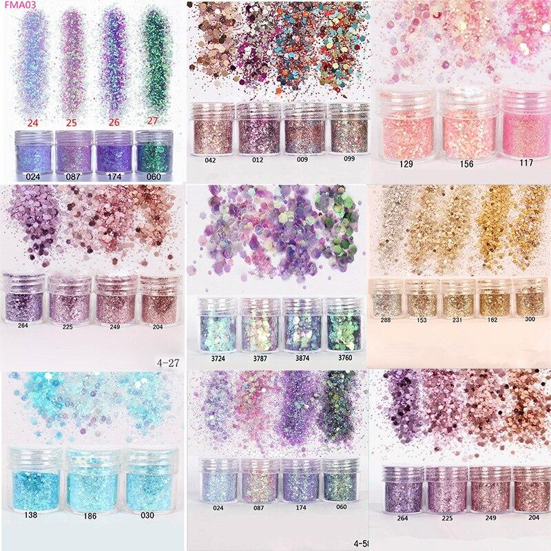 Nail Art Glitter 4boxes/Set (10ml/Box) 3D Nail Art Glitter MIX 10 Colors Nail Glitter Powder Sequins Powder For Nail Art Glitter