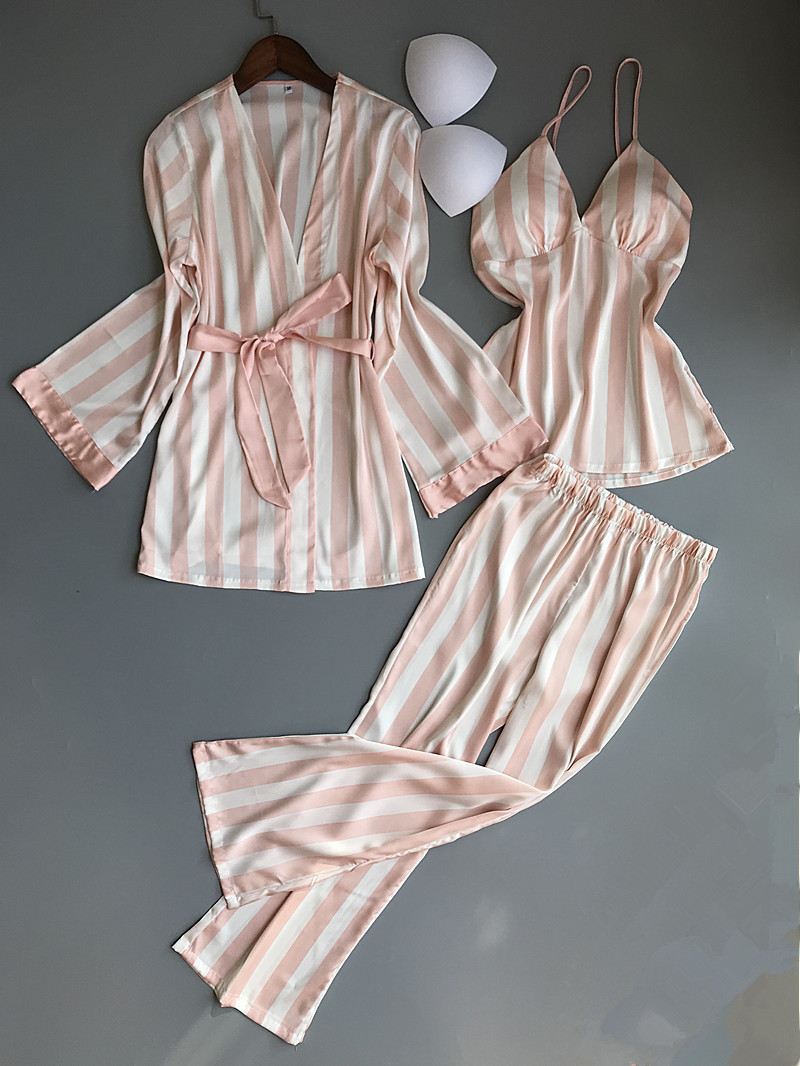 Spring New 3 Piece Striped  Long Section Women Pajama Set Nightgown+Robe+Pant Female Pijama
