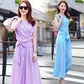 Summer women's sleeveless shirt chiffon blouse fashion loose wide-leg trousers suit female chiffon tops and pants 2 piece sets