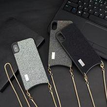 Étui de protection à bandoulière fonctionnelle Unique à paillettes avec chaîne longue pour iphone 11 PRO XS MAX XR X 6 8 7 6s Plus