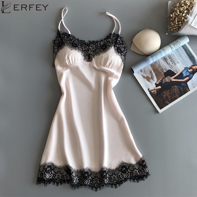 LERFEY Sexy Silk Satin Night Mini Dress Sleeveless V-neck Nightgown Lace Sleepwear For Women Ladies Pad Nightwear