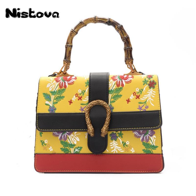 New Women's PU National Wind Handbag Plum Embroidery Crossbody Bag Bamboo Handle Hand Bag Elegant Atmosphere Shoulder Bag national wind embroidery lace paneled v neck blouse