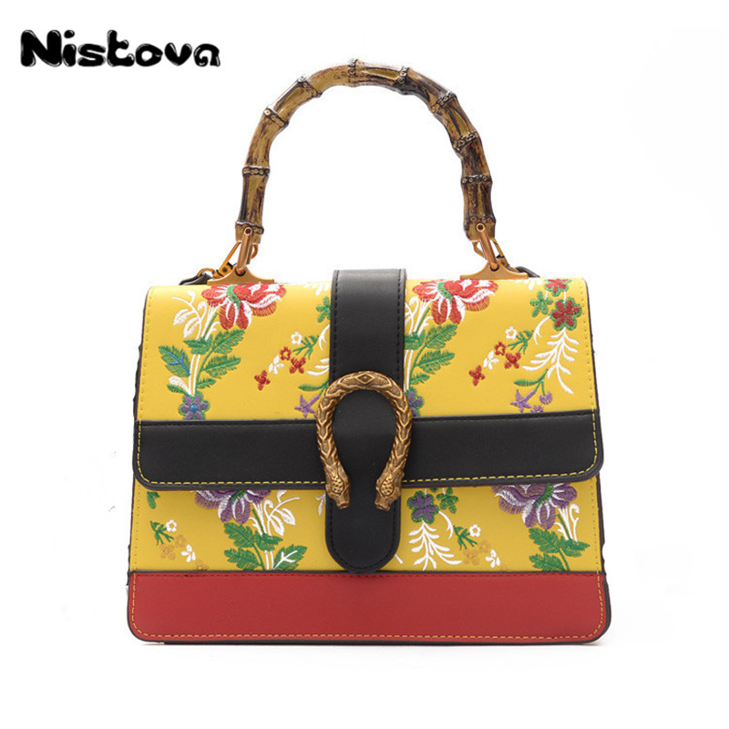 New Women's PU National Wind <font><b>Handbag</b></font> <font><b>Plum</b></font> Embroidery Crossbody Bag Bamboo Handle Hand Bag Elegant Atmosphere Shoulder Bag