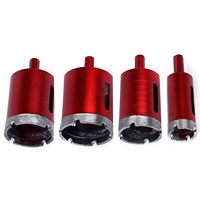 THGS 4Pcs 25/40/45 / 50mm Saw Bell Diamond Drill Bit Coated Core Metal Hole Saw Drill Bits For Granite Cutting Glass Tile Marb