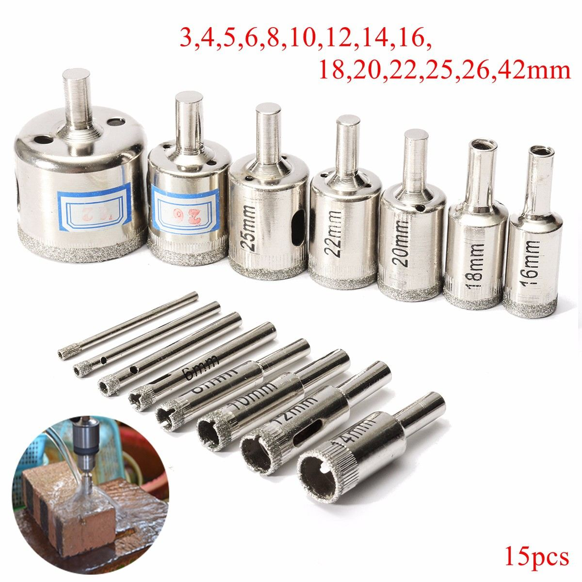 15pcs/set Marble Drill Bits 3mm-42mm Diamond Hole Saw Cutter Tool For Marble Tile Ceramic Glass Hot Sale