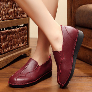 Image 4 - Handmade Shoes Woman 2020 Leather Women Shoes Flats 3 Colors Loafers Slip On Womens Flat Shoes Moccasins