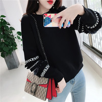 Autumn And Winter New 2019 Sweaters And Pullover With Lace Casual Solid Color Long Sleeve Knitted Sweater