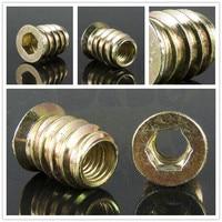 10pcs/lot M6 6X15mm E-Nut Wood Insert Nut Dowel Screw Fixing For Furniture Legs And Bun Feet