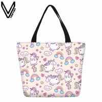 VEEVANV Cute Unicorn Shopping Bag For Girls Women Pink Canvas Cotton Tote Bags Summer Beach Bags