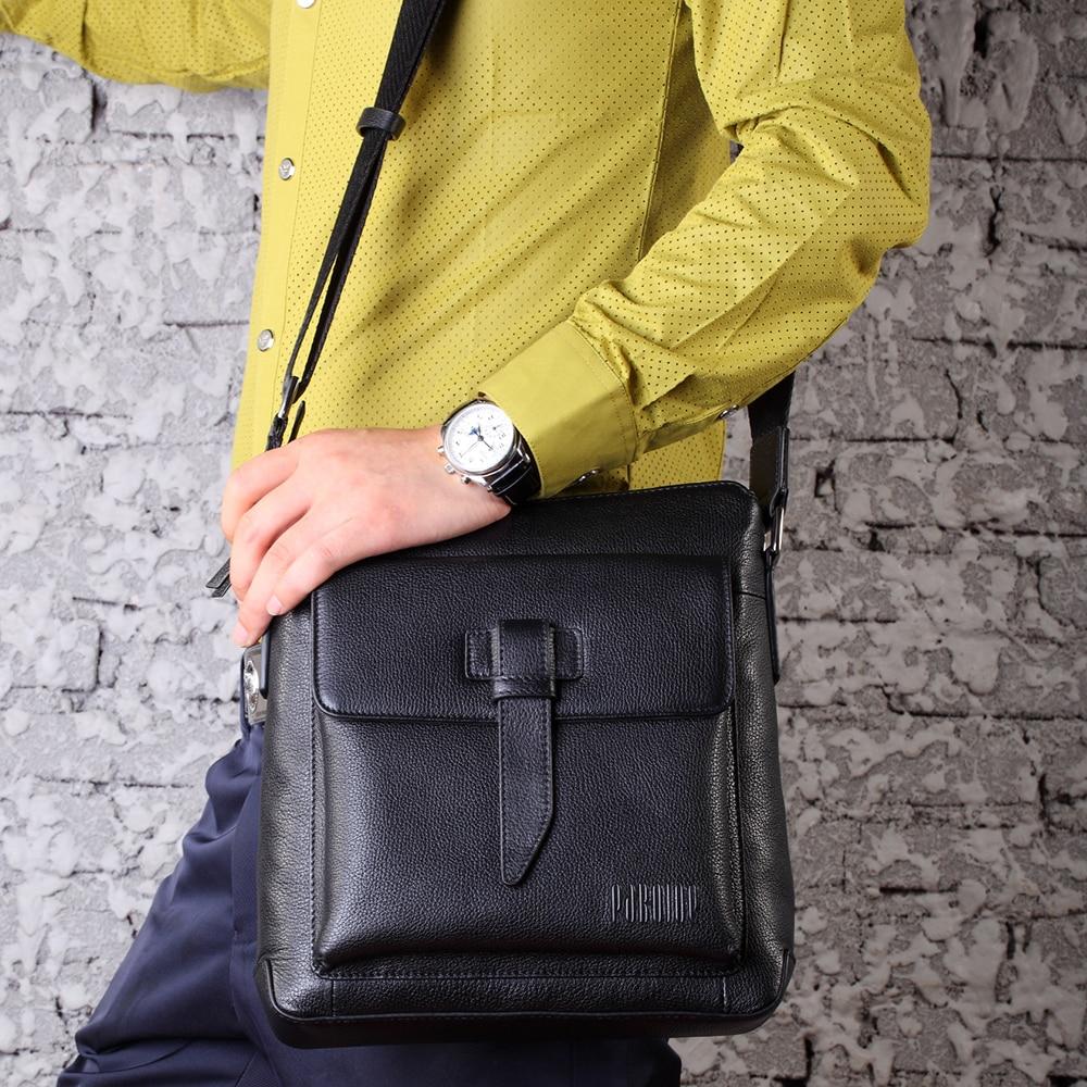 PABOJOE Handbags Men's Laptop Bag Male Genuine Leather Messenger Bags Men Travel School Bags Shoulder Bags with Single Belt pabojoe duffle bags 100