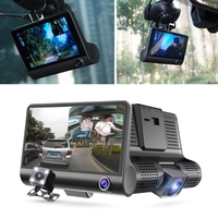 4 Inch Full HD 1080P Car DVR Dash Cam Camera Three Lens Camcorder Support G sensor / Motion Detection / Loop Recording