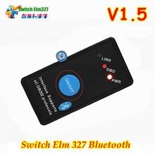 Новинка 2017 года V1.5 мини ELM327 Bluetooth OBD2 V1.5 OBD2 салона автомобиля диагностический Интерфейс ELM 327 включения/выключения Беспроводной авто сканирования