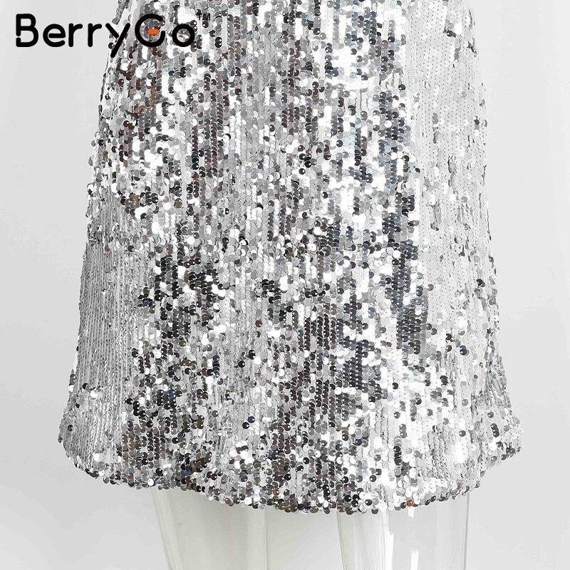BerryGo Sexy silver sequin women dress Deep v neck sleeveless short dress Elegant evening party dresses casual summer vestidos 12