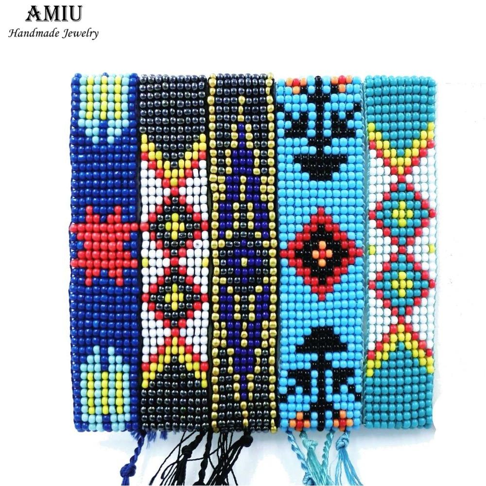 AMIU Χειροποίητο Βραχιόλι Φιλίας Hippy Πολύχρωμο Σπόρους Χάντρες Γοητεία Φιλίας Τρελό Βραχιόλια Για Γυναίκες Άντρες Ημέρα Χριστουγέννων 2019