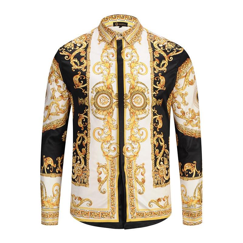 Luxury Royal Social Shirt Men Black Gold Print Man Long Sleeve Shirt  Night Club Casual Slim Fit Shirts Streetwear Camisa