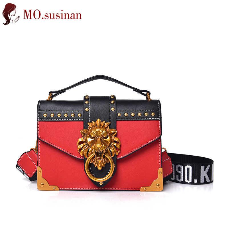 475708cf58fc Fashion female Crossbody bag red PU leather women flap handbag 2018 rivet lion  head decoration ladies