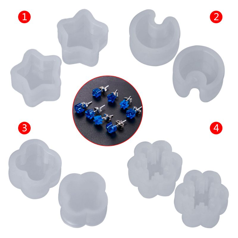 2 Pcs/Set Silicone Mold Ear Stud DIY Jewelry Making Snowflake Moon Star Flower Shape Mini Small Molds Epoxy Resin Crafts Tools