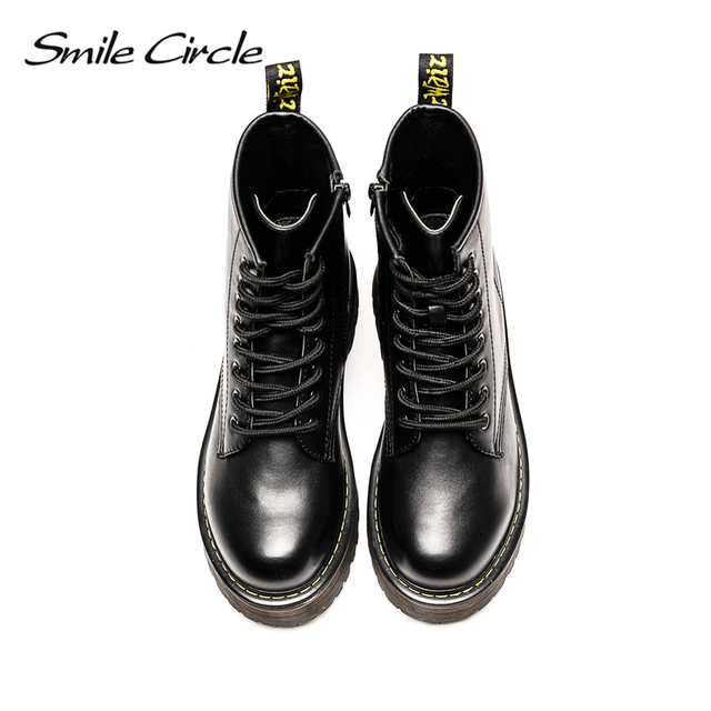 Smile Circle Size36-41 Chunky Motorcycle Boots For Women Autumn 2018 Fashion Round Toe Lace-up Combat Martin Boots Ladies Shoes 2