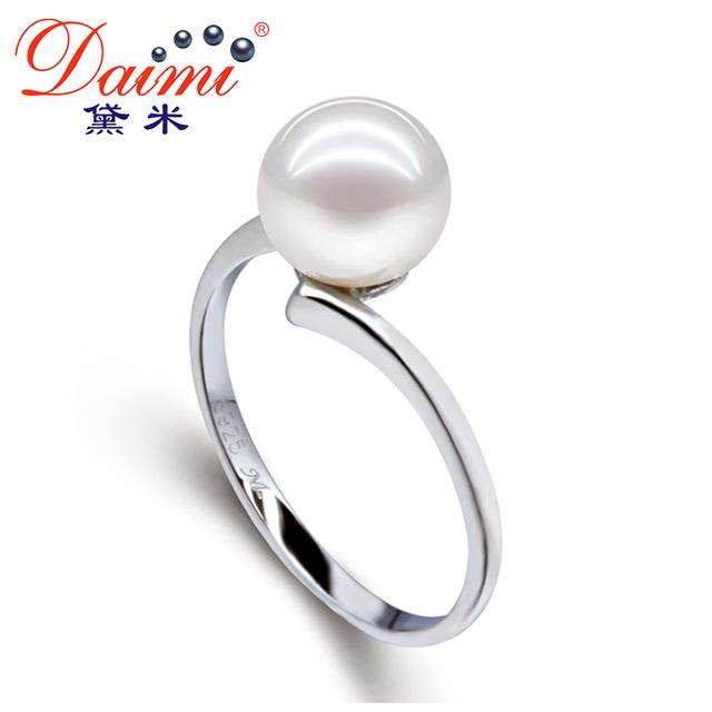 pérola natural anel daimi 7-8mm rodada pérolas de água doce 925 anel de prata esterlina boa qualidade anéis de jóia fina tamanho grande eudora