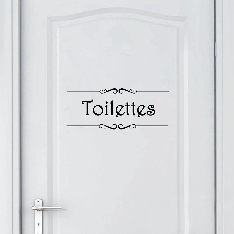 Porte Salle de bain et Toilettes Wall Sticker French Bathroom Toilet Door Wallpaper Mural Decals Vinyl Wall Sticker Home Decor