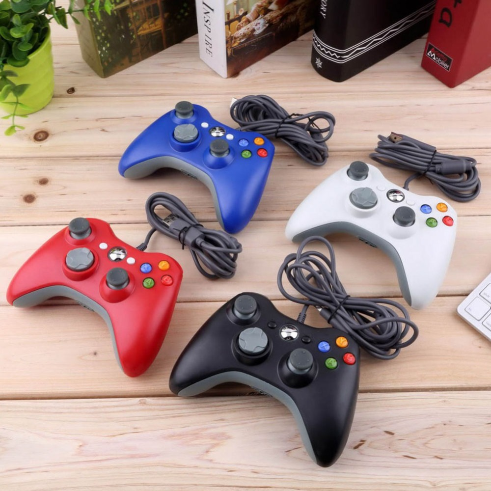 USB Wired Gamepad Voor Microsoft Xbox 360 Console Bedrade Controller Joypad Joystick Zwart Wit Rood Blauw Voor PC Game Joystick