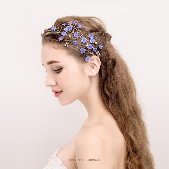 Estilo europeo y americano novia tocado hecho a mano corona boda pelo banda  flor perlas accesorios bd7cfb771ee9