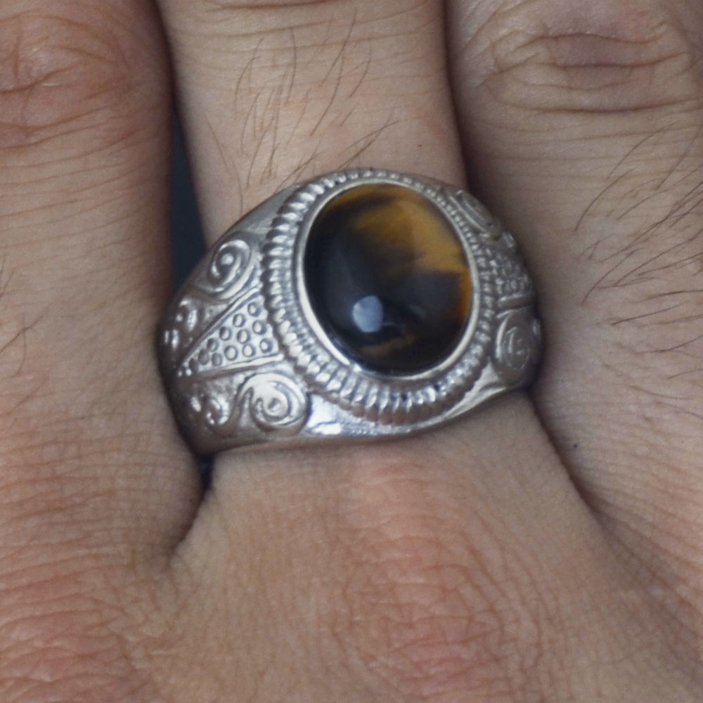 Men Vintage Gold Stainless Steel Oval Tiger Eye Stone Patterned Band Ring #7-#12
