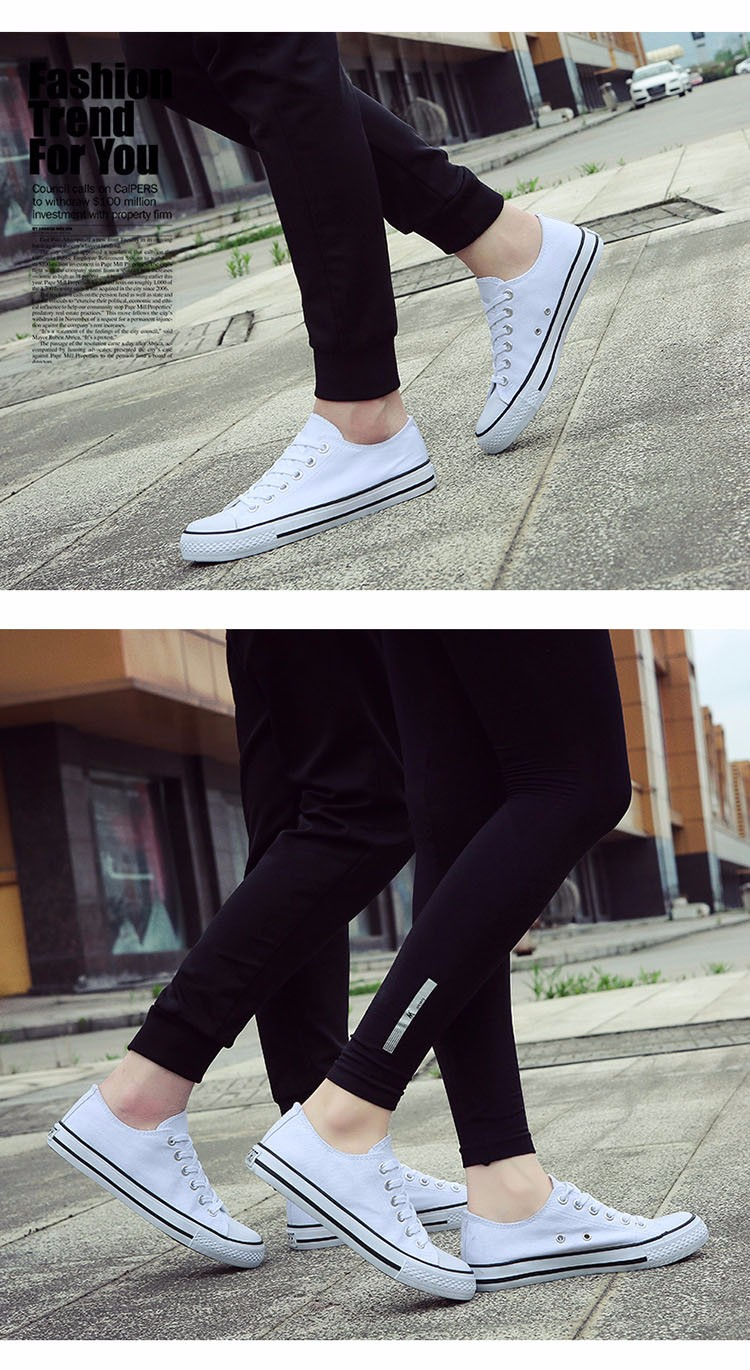 Hellozebra Men Casual Canvas Shoes Classical Lace Up Solid Flats Breathable Board Soft Leather Students Shoes 2016 Autumn New  (29)