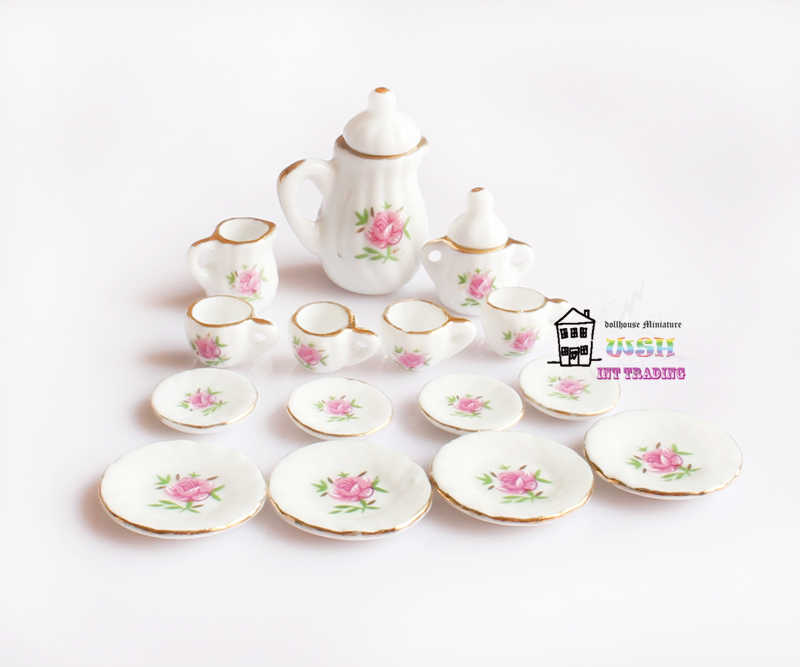1/12 Miniature 15PCS Tea Cup Set Pink Rose and Golden Trim Porcelain Tableware Kit Dollhouse Kitchen Accessories