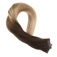 Moresoo Tape in Hair Extensions Real Remy Human Hair Skin Weft Brazilian Hair Tape in Ombre Color #4 Brown to Blonde 20PCS 50G