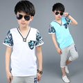 T shirt Clothing sets baby boys fashion casual outwear clothes kids T shirt+pants pure cotton clothes suit 7-15Years baby shirt