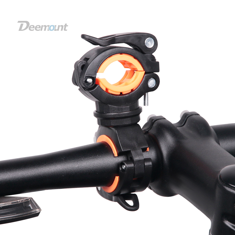 Deemount Bicycle Light Bracket Bike Lamp Holder LED Torch Headlight Pump Stand Quick Release Mount 360 Degree Rotatable HLD-211