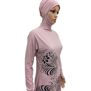 Image 5 - HAOFAN 2018 בתוספת גודל בגדי ים מוסלמיים נשים צנוע פרחוני הדפסת מלא כיסוי בגד ים אסלאמי חיג אב האיסלאם Burkinis וחוף אמבט