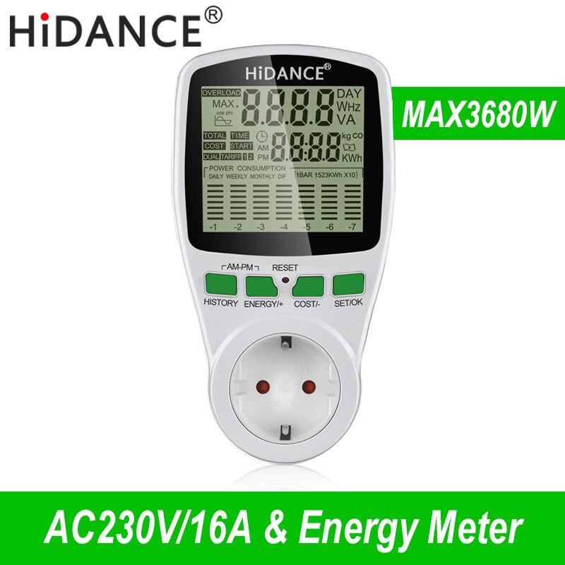 Medidor de potencia de CA HiDANCE medidor de potencia digital de 220v medidor de energía de la UE monitor de vatios Diagrama de costes de electricidad Analizador de toma de medición