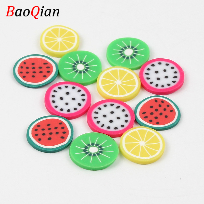 20PCS Fruit Pattern Patch DIY Round Fruit Polymer Clay Home Mobile Phone Shell Refrigerator Creative Ornament Accessories 20mm(China)