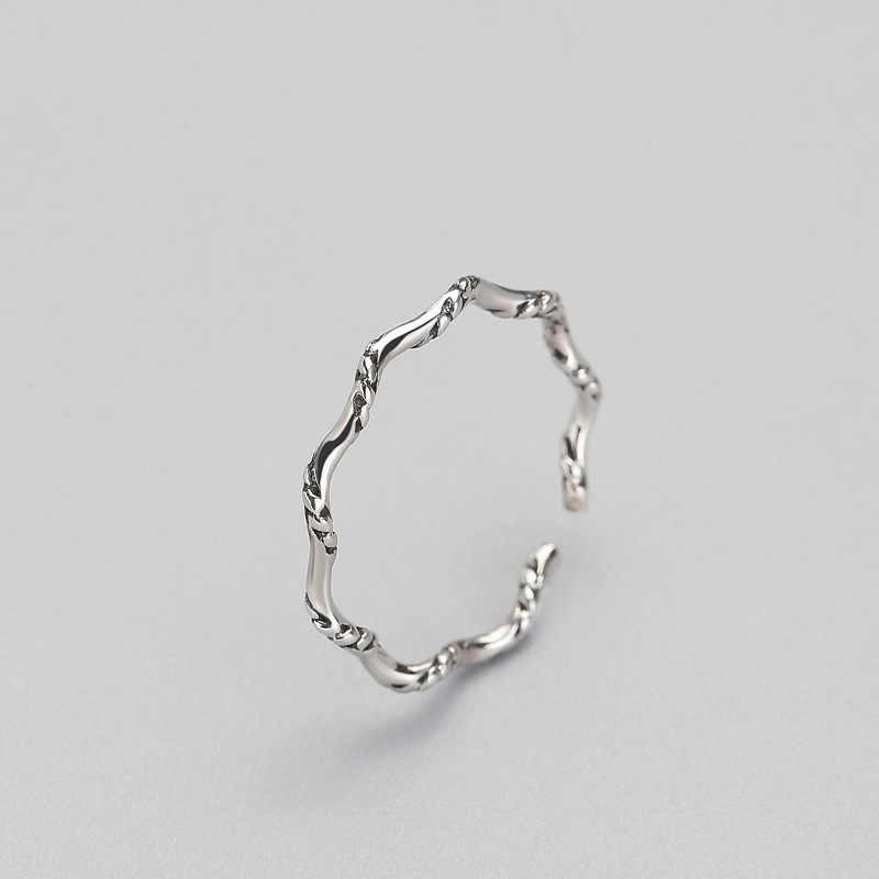 INZATT Punk Vintage dalgalı yüzük hakiki 925 ayar tay gümüş geometrik kadınlar için parti güzel takı yeni 2018 hediyeler Brincos